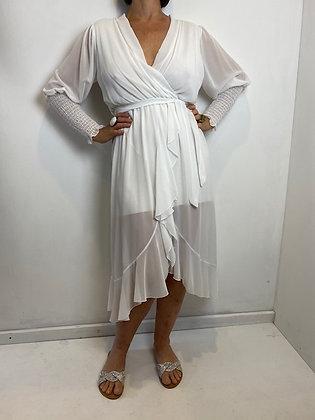 White faux wrap dress