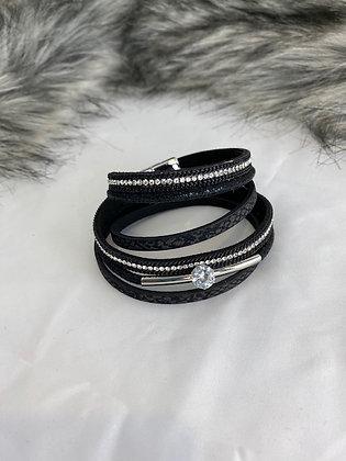 Black wrap round diamanté bracelet