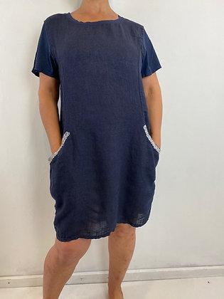 Navy knee length linen dress