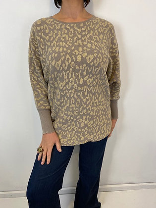 Taupe subtle batwing Top