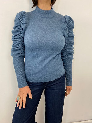 Mid Blue Ruched Sleeve Jumper