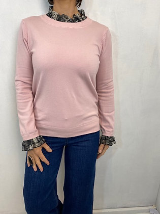 Pink Jumper with Snake Print cuff and collar detail