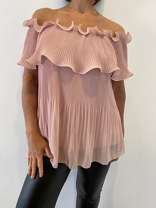 Dusty pink off the shoulder top with fan pleat