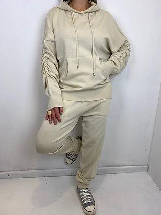 Beige fine knit 2 pc Hoodie Set