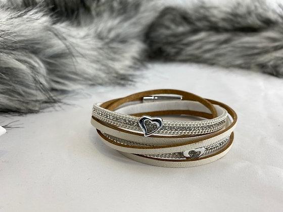 Cream bracelet with diamanté detail and magnetic clasp