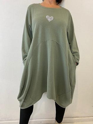 Khaki Dress/Tunic with GlitterHeart