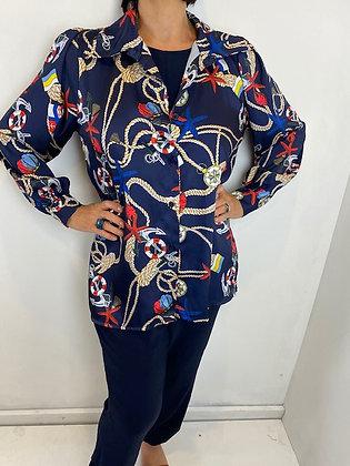 Navy nautical style blouse