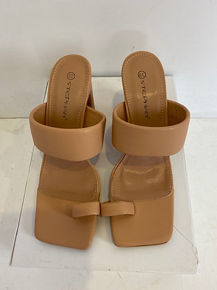 Chunky Heeled Mules with Toe Post