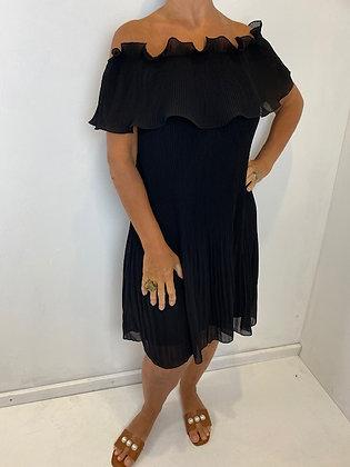 Black off the shoulder fan pleat Dress