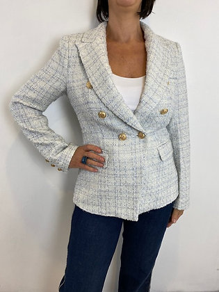 White and Ice Blue Tweed Blazer