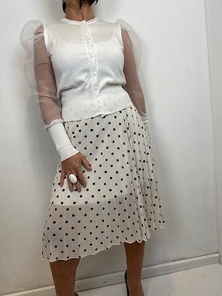 Black & White polka dot knee length Skirt