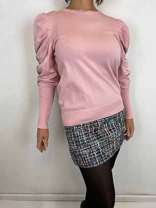 Pink diamanté ruched puffed sleeve top