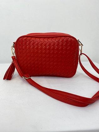 Red weaved Handbag