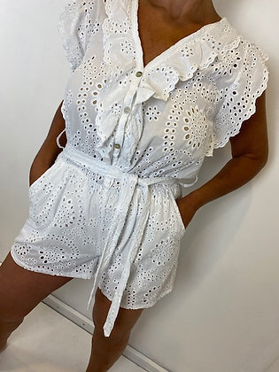 White embroidery Anglaise Playsuit