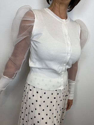 Winter white sheer puffed sleeve Cardigan