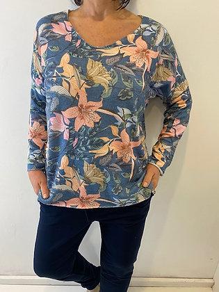 Blue tropical flower print top