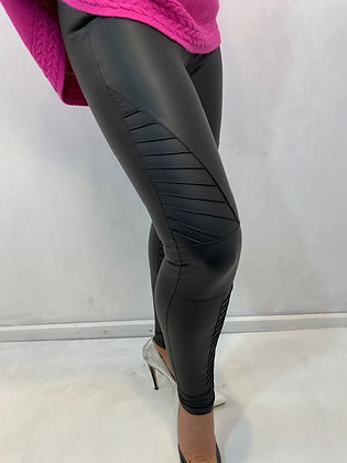 Black Biker Leggings PU
