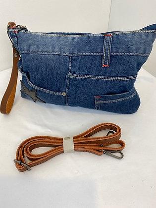 Denim jean style clutch Bag