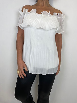 White of the shoulder top with fan pleat