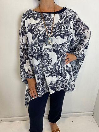 Navy & White Patterned loose fitTop
