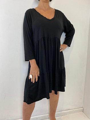 Black v-neck smock dress