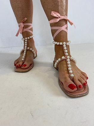 Pink Pearl Wrap around Sandals