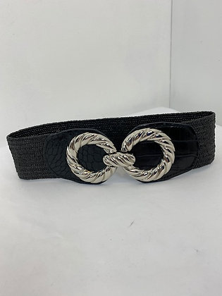 Black and silver elasticated Belt