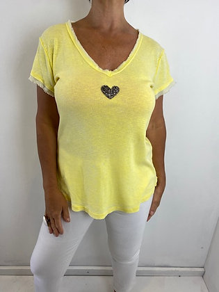 Yellow T-Shirt with Silver heart