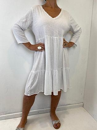 White v-neck smock dress