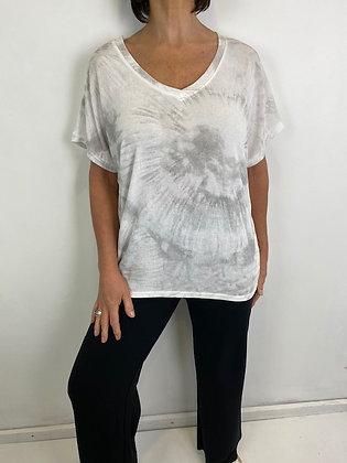 White Tie dye v neck T-shirt