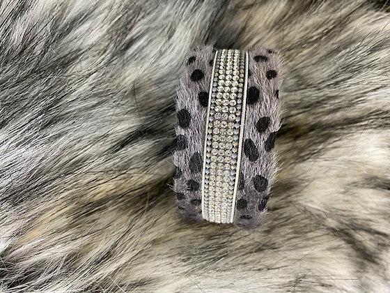 Animal print bracelet with diamanté strip