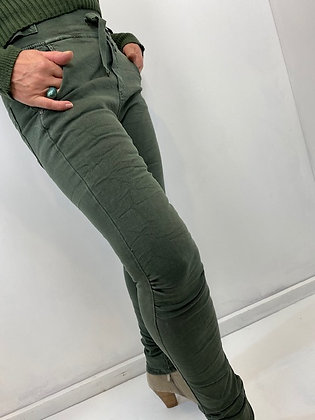 Khaki fitted trousers with pocket details & tie front