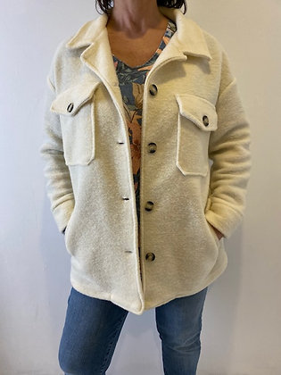 Cream Shacket with side and front pockets