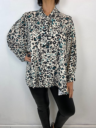 Oversized animal print Blouse with pussy bow detail