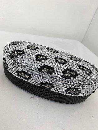 Animal print diamanté sunglasses case