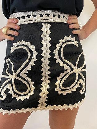 Black & Ivory A-Line Mini Skirt