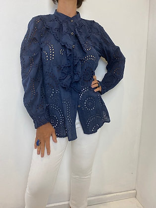 Navy Embroidery Anglaise Frilled Blouse