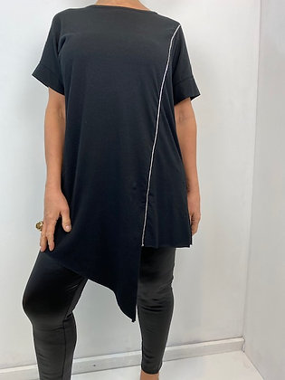 Blank tunic style Top with silver metallic piping