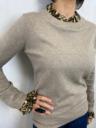 Taupe Jumper with Leopard Print cuff and collar