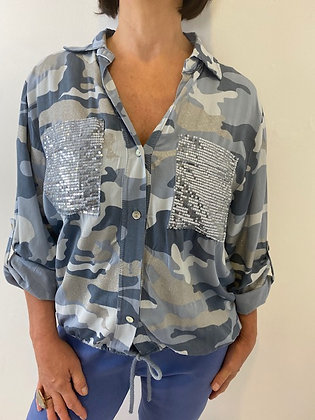 Blue Camouflage Shirt with sequin & glitter detailing