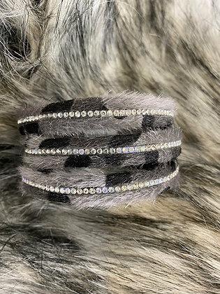 Animal print bracelet with diamanté detailing