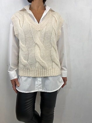 Cream cable knit vest top