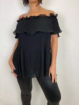 Black off the shoulder top with fan pleat