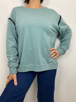 Cadet blue sweatshirt with chunky zip detailing