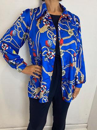 Royal Blue nautical style blouse