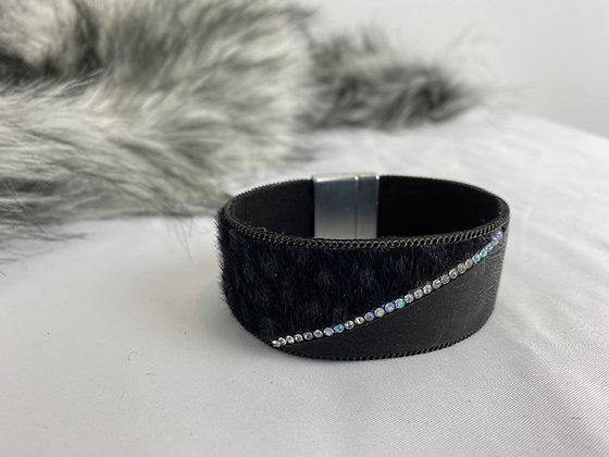Black bracelet with diamanté detailing