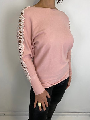 Pink fine knit batwing