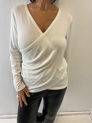 Ivory fine knit faux wrap top