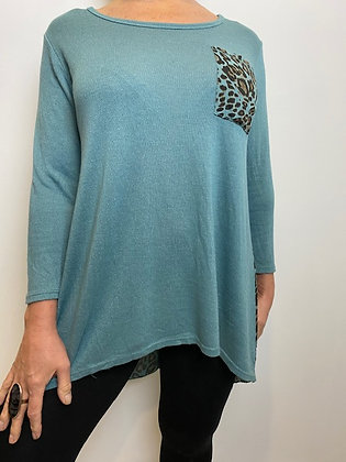 Teal Tunic with leopard print pocket