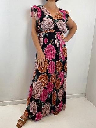 Bold floral print maxi dress
